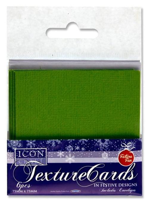Icon Craft Pack of 6 Festive Texture Cards & Envelopes 75X75Mm 3 Asst.