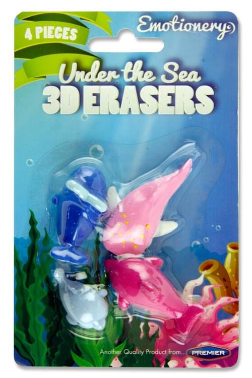 Emotionery Card 4 3D Erasers - Under The Sea
