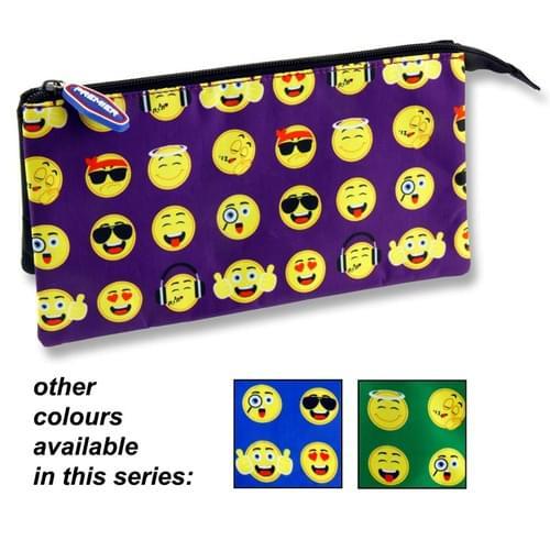Premier 3 Pocket Pencil Case - Emoji 3 Asst.