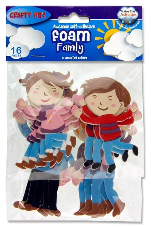 Crafty Bitz Pack of 16 Foam Stickers - Family