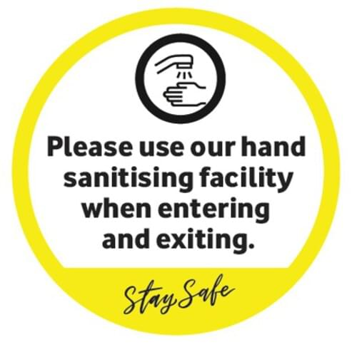 Please Use Our Hand Sanitiser Facility - Window Sticker - Own Manufacturer - WDW2 - McArdle Computer & Office Supplies