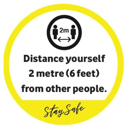 Distance Yourself 2 Metres - Window Sticker - Own Manufacturer - WDW3 - McArdle Computer & Office Supplies
