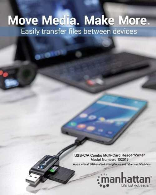 Card Reader USB Type C and Type A for SD, Micro SD, MMC