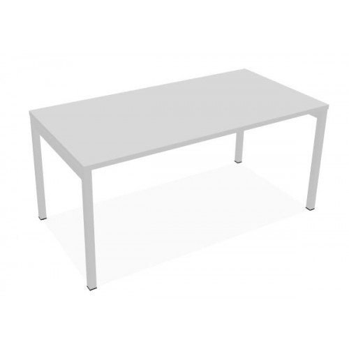 Ogi Single Desk 1600 x 800  White Top with  White Frame including two portholes for cable access