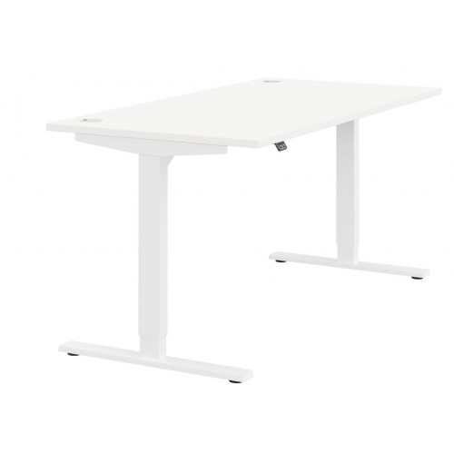 Zoom Height Adjustable Sit Stand Office Desk Plain Top W1600mmxD800mmxH685-1185mm White Top White Frame