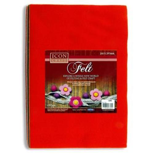 ICON CRAFT PKT.10 A4 FELT SHEETS - ASST
