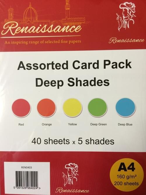A4 Assorted coloured card, deep(200)