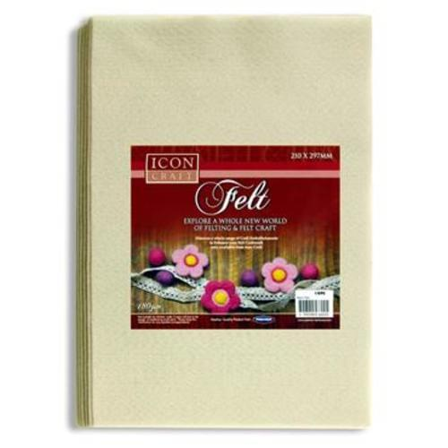 ICON CRAFT PKT.10 A4 FELT SHEETS - WHITE