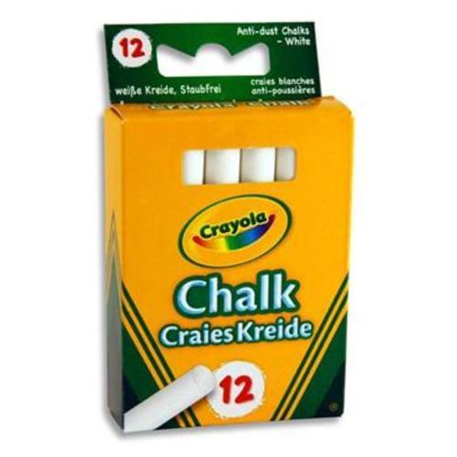 CRAYOLA BOX 12 ANTI-DUST CHALK - WHITE