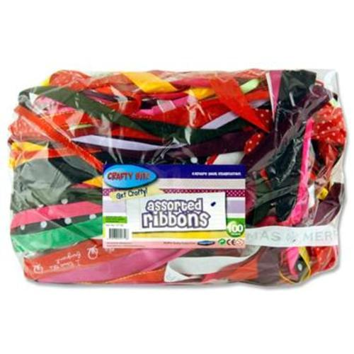 CRAFTY BITZ 100g BAG ASST RIBBON