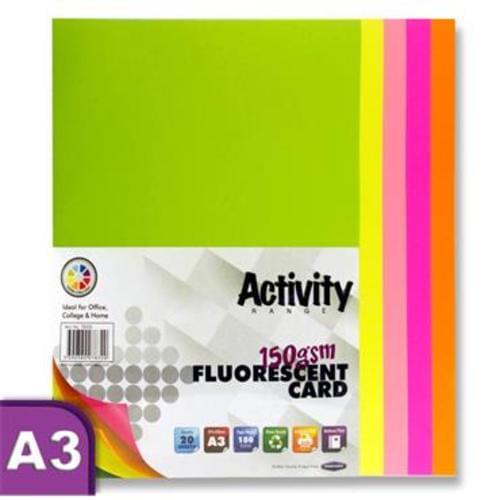PREMIER A3 ACTIVITY CARD 20 SHEETS - FLUORESCENT