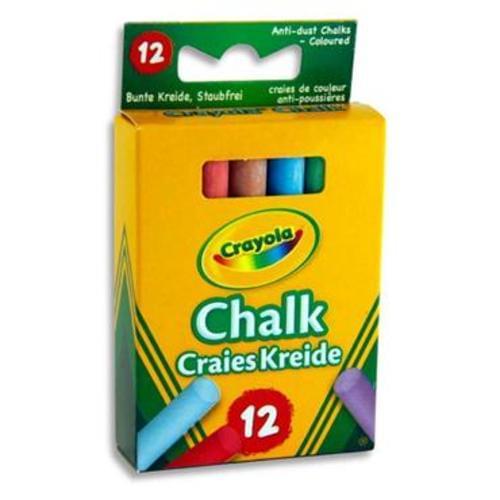 CRAYOLA BOX 12 ANTI-DUST CHALK - COLOURED