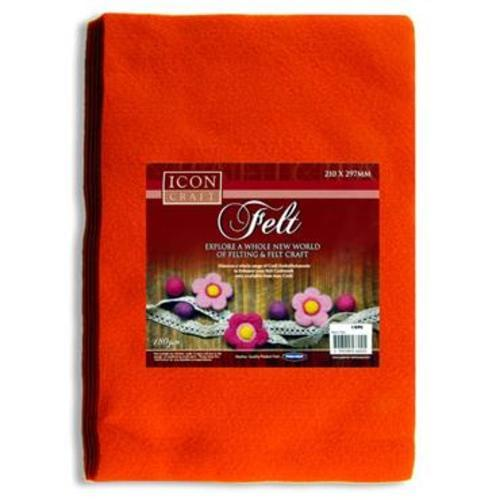ICON CRAFT PKT.10 A4 FELT SHEETS - ORANGE