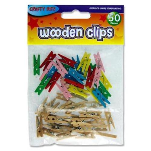 CRAFTY BITZ PKT.50 ASST. WOODEN PEGS