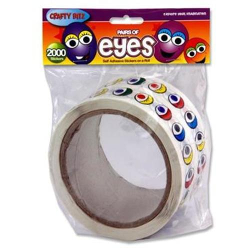 CRAFTY BITZ ROLL 2000 STICKERS - PAIRS OF COLOURED EYES
