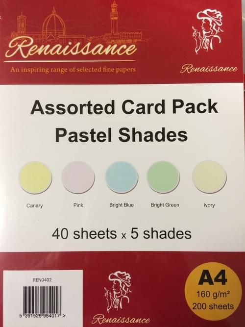 A4 Assorted coloured card, pastel(200)
