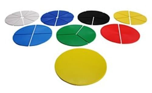 Fraction Circles, a set of 51 sized pieces. 8.7cm dia.
