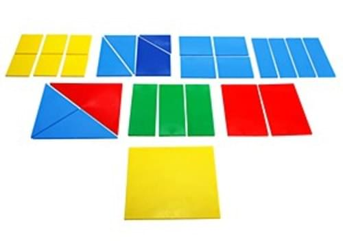 Fraction Squares, eight square in 1/2, 1/3, 1/6,1/4, 10cm square