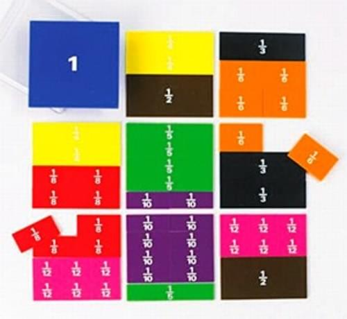 Fraction Squares, a set of 51 printed pieces. 10cm square