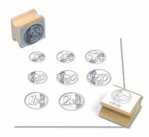Euro Coin Rubber Stamp set, 8 piece set