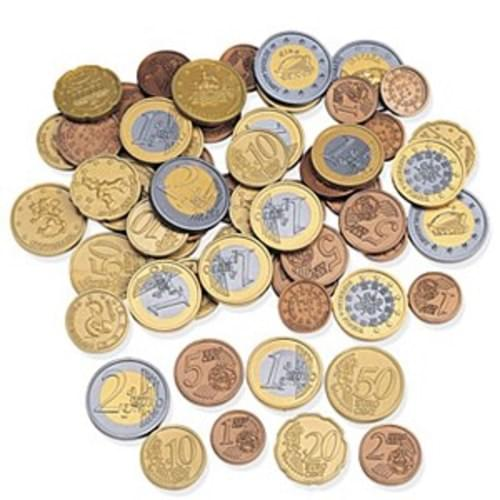 Euro Coins  Contents 120 coins, (slightly enlared for safety)