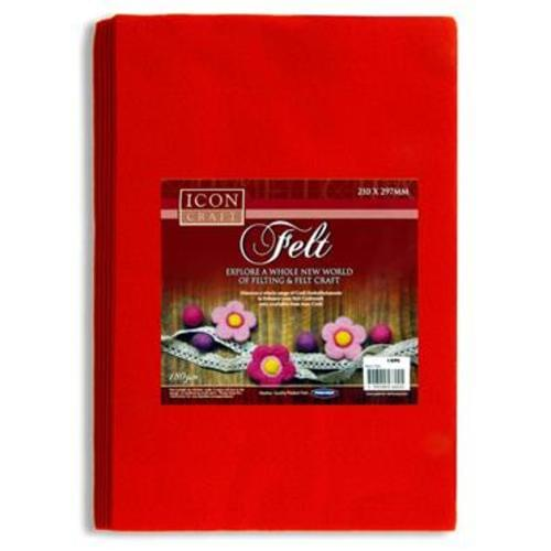 ICON CRAFT PKT.10 A4 FELT SHEETS - RED