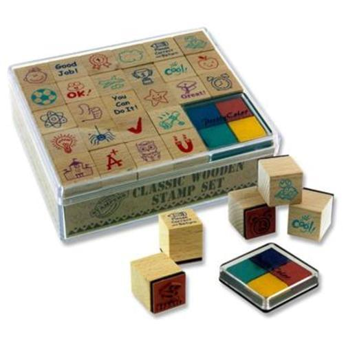 PREMIER 26 STAMP CLASSIC WOODEN STAMP SET WITH INK PADS