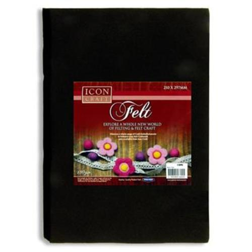 ICON CRAFT PKT.10 A4 FELT SHEETS - BLACK