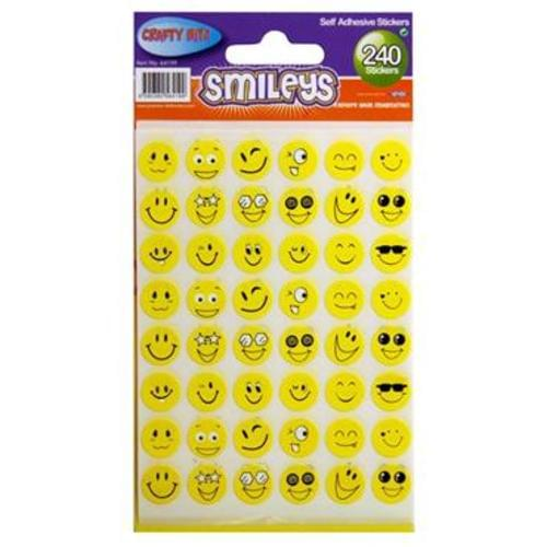 CRAFTY BITZ PKT.240 STICKERS - SMILEYS