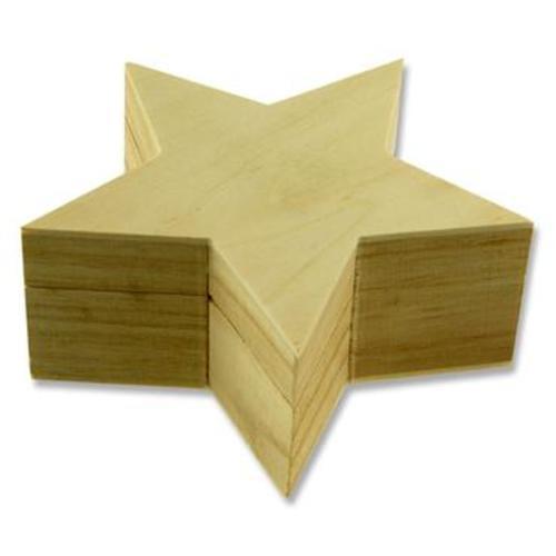 ICON 125x125x53mm WOODEN BOX - STAR