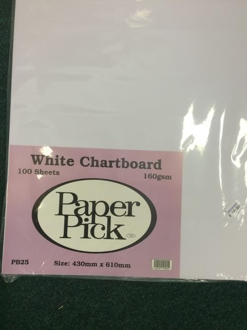 A2 White chartboard pk 100