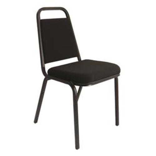 Trexus Banqueting Chair Upholstered Stackable Seat (Charcoal Seat with Black Frame)