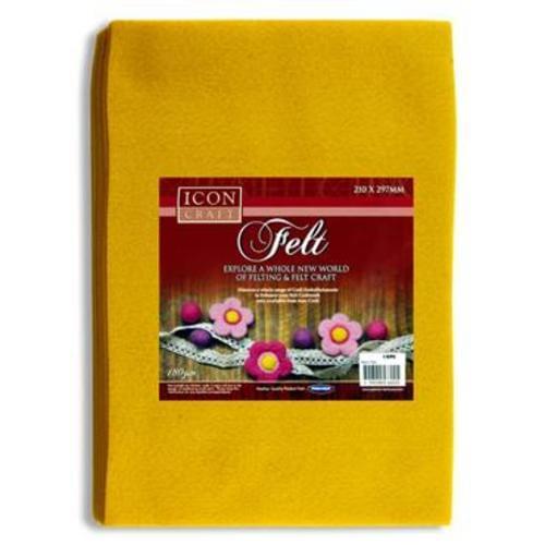 ICON CRAFT PKT.10 A4 FELT SHEETS - YELLOW