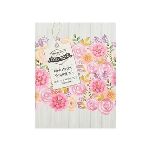 A5 Writing Set & Envelopes - Pink Posies
