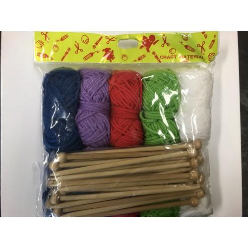 Knitting Kit, 10 wool & 10 pair of K/Needles