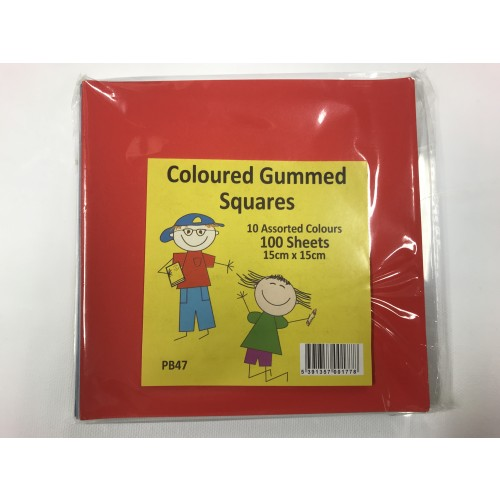 Gummed Coloured paper pk 100