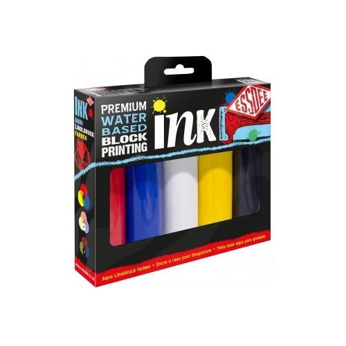 BLOCK PRINTING INK 5 SET PRIMARY COLOURS