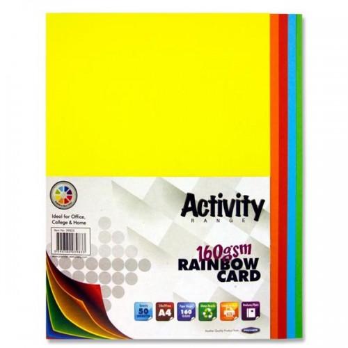 A4 Assorted coloured card (deep) pk 50