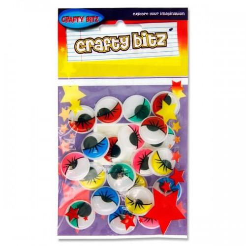 Crafty Bitz Pkt.20 Coloured Wiggle Goggly Eyes