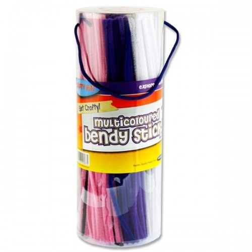 Crafty Bitz Tub 350 Multicolored Bendy Sticks Pipe Cleaners 10 Asst. Cols