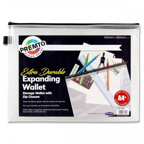 Premto A4+ Extra Durable Expanding Mesh Wallet - Clear Pearl
