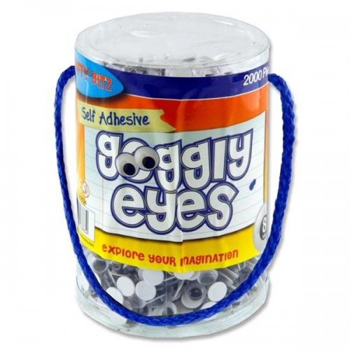 Crafty Bitz Tub 2000 Self Adhesive Goggly Eyes - 8mm