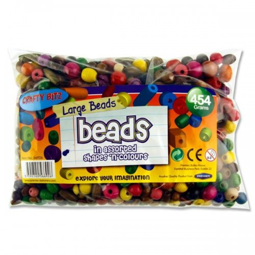 Crafty Bitz 454g Bag Wooden Multicoloured Beads - Large