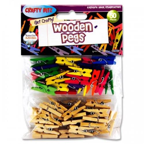 Crafty Bitz Pkt.50 Asst. Wooden Pegs