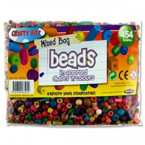 Crafty Bitz 454g Bag Wooden Multicoloured Beads Asst. Sizes