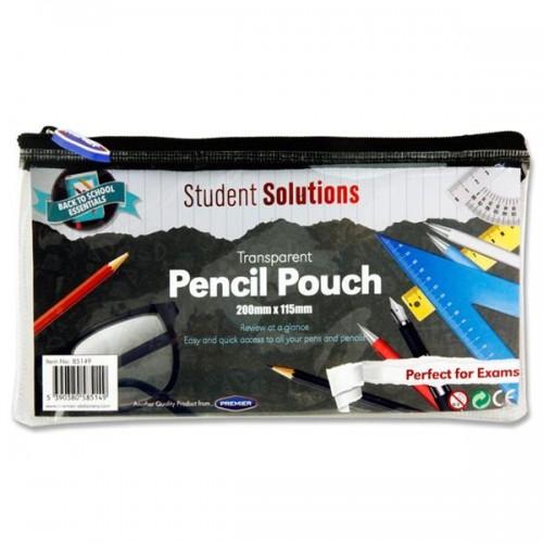 Student Solutions 200x115mm Transparent Pencil Case