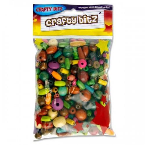 Crafty Bitz 100g Pack Coloured Wooden Beads