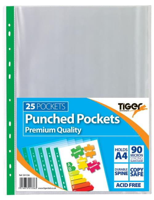 TIGER A4 PREMIUM PUNCHED POCKETS PK OF 25