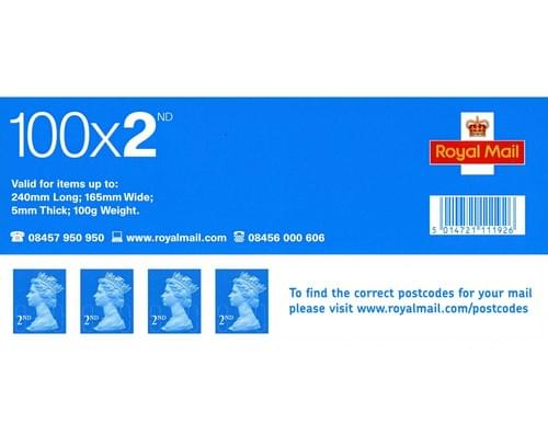 ROYAL MAIL UK SECOND CLASS POSTAGE STAMPS 100