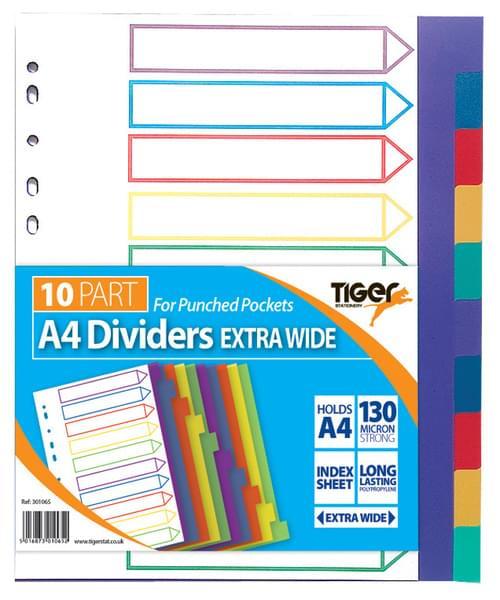 A4 EXTRA WIDE 10 PART POLYPROPYLENE DIVIDERS